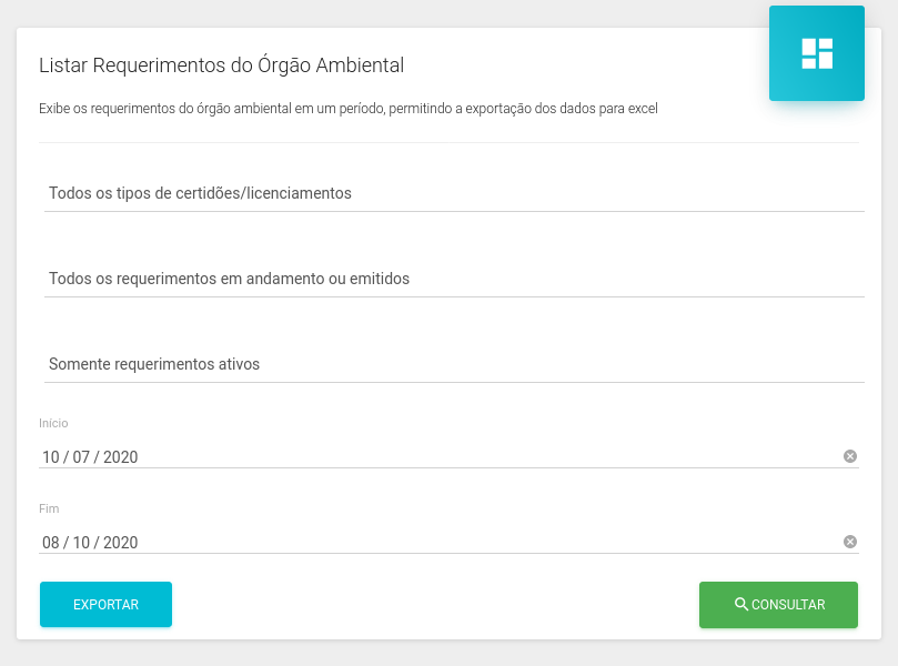 Listagem de requerimentos do órgão ambiental